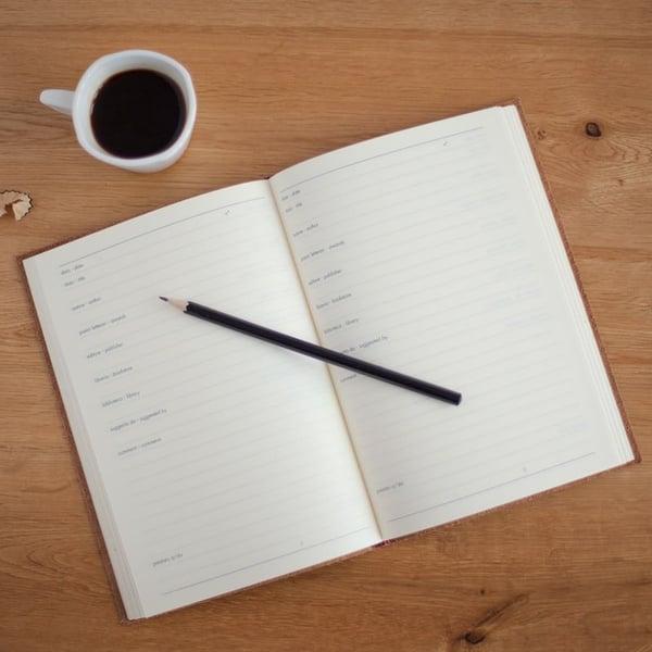 Agenda et tasse de café - Hope House Press Leather Diary Studio